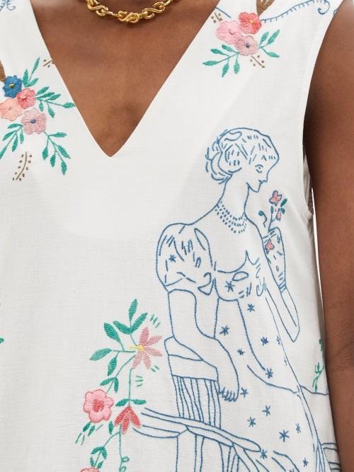 Thumbnail for your product : Chopova Lowena Embroidered Ruffle-hem Organic-cotton Dress - White