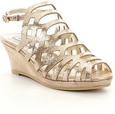 Steve Madden Girls' JSLITHR Metallic Wedge Sandals