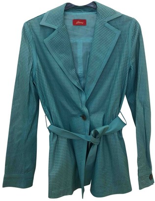Brioni Turquoise Leather Jacket for Women
