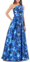 Carmen Marc Valvo Women's Print Mikado One-Shoulder Gown