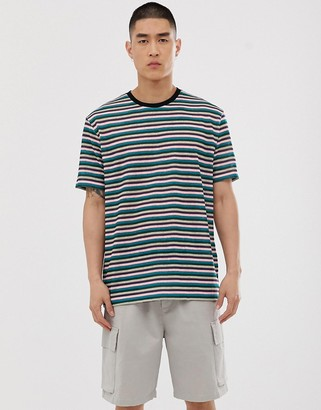 Asos Design DESIGN relaxed stripe t-shirt in linen look with contrast neck rib-Multi