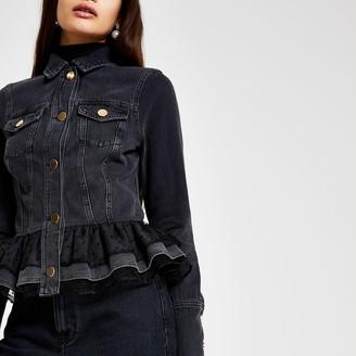 River Island Womens Black denim frill hem mesh jacket