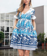 Reborn Collection Women's Casual Dresses White - White & Light Blue Floral Ruffle-Sleeve Dress - Women