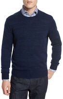 Neiman Marcus Cashmere-Cotton Athletic Crewneck Sweater, Navy/Denim