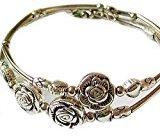 Doinshop New Nice Fashion Tibetan Silver Retro Women Hand Chain Bracelet Jewelry (Three Roses)