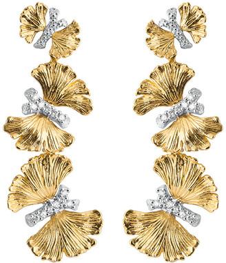 Michael Aram Butterfly Ginkgo Triple Drop Earrings with Diamonds