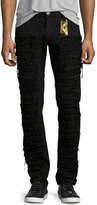 Robin's Jeans Distressed Slim-Fit Over-Dyed Denim Jeans, Black