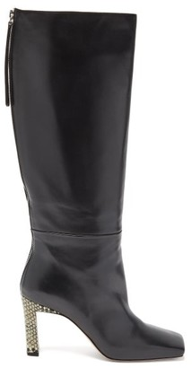 Wandler Isa Python-effect Heel Knee-high Leather Boots - Womens - Black Multi