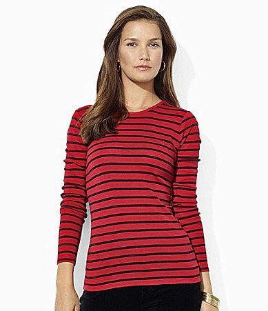 Lauren Ralph Lauren Long-Sleeved Striped Logo Tee