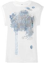 Versus sheer logo print T-shirt - women - Cotton/Polyamide - XS