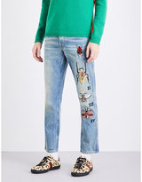 Gucci Insect-embroidered Regular-fit Straight Jeans