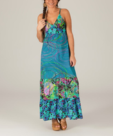 Aller Simplement Aqua & Purple Swirl Maxi Dress
