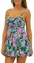 Fit 4 U Figure Magic Tropical Print Shirred Cami Top Swimdress
