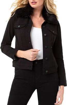 Liverpool Detachable Faux Fur Collar Denim Jacket