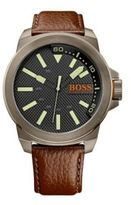 Hugo Boss 1513168 Leather Grained Strap 3-Hand Quartz Watch One Size Assorted-Pre-Pack
