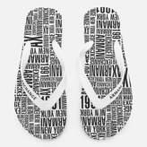 Armani Exchange Men's AX Flip Flops - Typography White