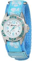 Ravel Girls Blue Hibiscus Velcro Strap Watch R1507.21