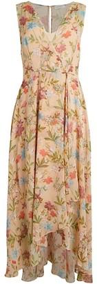 Calvin Klein Floral Chiffon High-Low Wrap Dress