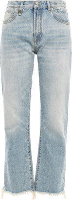 R 13 Tilly Cropped Frayed High-rise Straight-leg Jeans