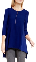 Vince Camuto Zip-Up Mixed-Media Top