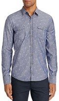 BOSS ORANGE EdoslimE Floral Chambray Slim Fit Button Down Shirt