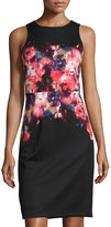 Maggy London Floral-Print Scuba Sheath Dress, Black/Red