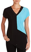 Peter Nygard Color Block V-Neck Tee