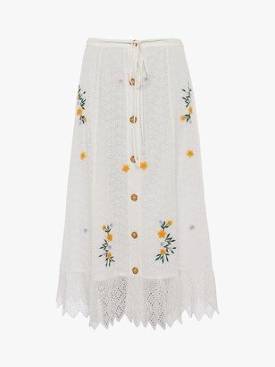 French Connection Eka Embroidered Skirt, Summer White
