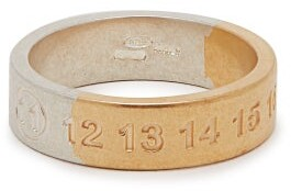 Maison Margiela Silver And Gold-tone Numbers Ring - Mens - Silver Multi