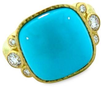 Elizabeth Locke 19K Yellow Gold, Sleeping Beauty Turquoise & Diamond Ring