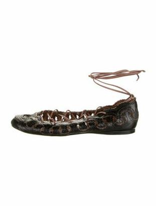 Alaia Leather Animal Print Ballet Flats Black