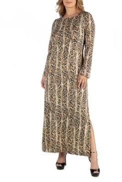 24Seven Comfort Apparel Snake Print Long Sleeve Side Slit Plus Size Maxi Dress
