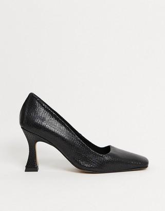 ASOS DESIGN Saint premium leather square toe court shoe in black snake