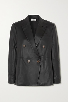 Vince Double-breasted Leather Blazer - Black