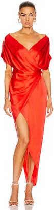 Mason by Michelle Mason Wide Neck Wrap Dress in Poppy   FWRD
