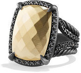 David Yurman Chatelaine Ring with Gold Dome and Black Diamonds