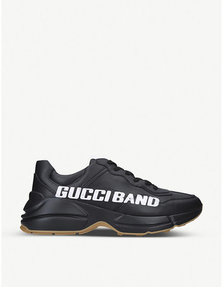 Gucci Rhython brand-print leather low-top trainers