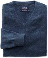 Charles Tyrwhitt Indigo Cotton Cashmere V-Neck Cotton/cashmere Sweater Size Large