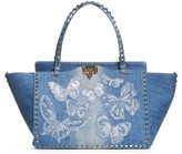 Valentino Medium Rockstud Denim Tote - Blue