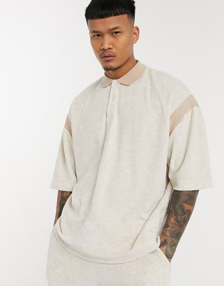 ASOS DESIGN co-ord oversized polo with 3/4 wide sleeves in marle towellng