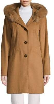 Forecaster Of Boston Fox Fur Hood Seamed Single-Breasted Coat