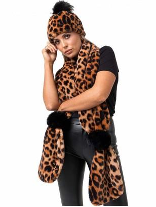 Pia Rossini Ladies Leopard Print Faux Fur Pom Pom Scarf ~ Gizelle ~ One Size