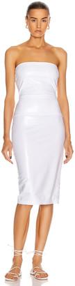 Norma Kamali for FWRD Strapless Dress in White Foil | FWRD