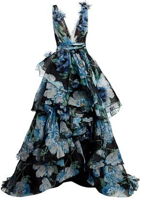 Marchesa Floral-Applique Silk Organza Gown