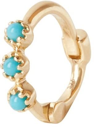 Zohreh V. Jewellery Mini Turquoise Trilogy Huggie Hoop Earring 9K Gold