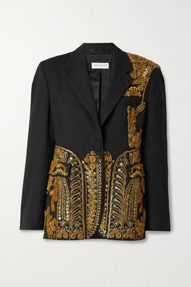 Dries Van Noten Sequin-embellished Embroidered Woven Blazer - Black