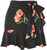 Topshop PETITE Spot Flower Ruffle Skirt