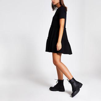 River Island Black tiered frill T-shirt smock mini dress