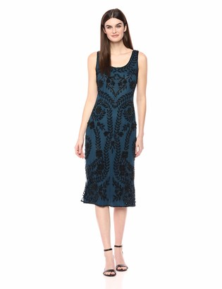 Pisarro Nights Women's Middy Dress with a Beaded Vine Placement Motif