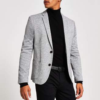 River Island Mens Light Grey jersey skinny fit blazer